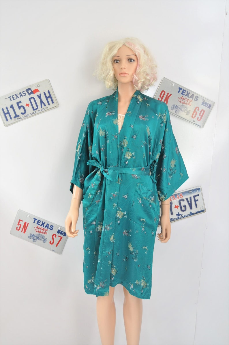 b238421a27 Vintage 80s 90s Robe Kimono Mens Womens Sapphire Green