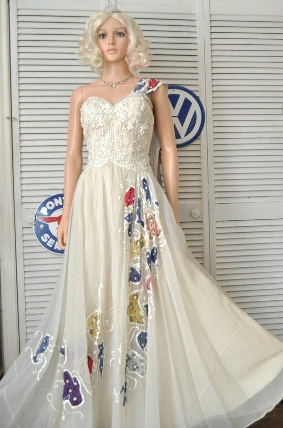Womens Vintage 50s Formal Dress Designer Kiviette Ball Gown Etsy