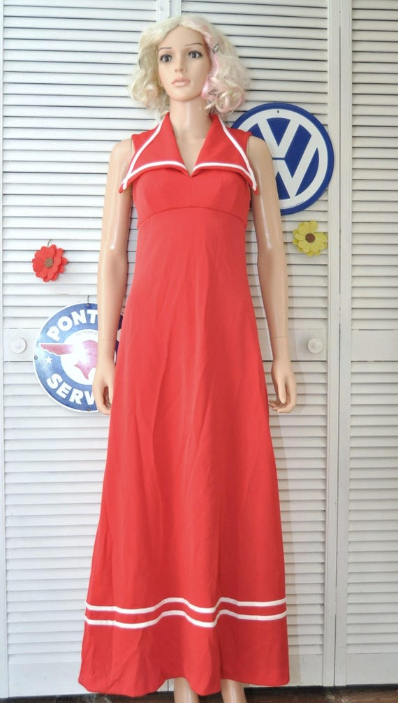 Vintage 70s Womens Juniors Formal Maxi Dress Nautical Red Etsy
