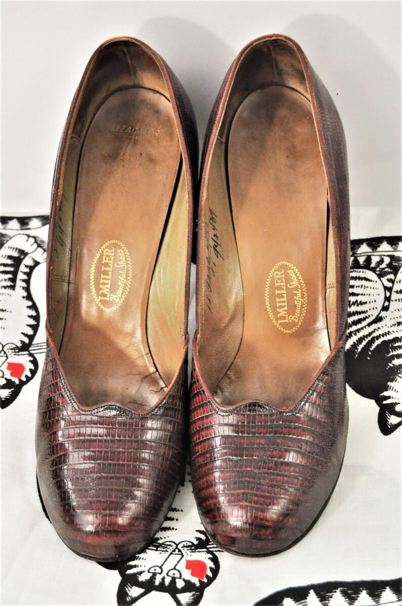 ece71efa37ecbe Jahrgang 1940er Jahre Pumps Damen Schuhe Lizagator braun Round
