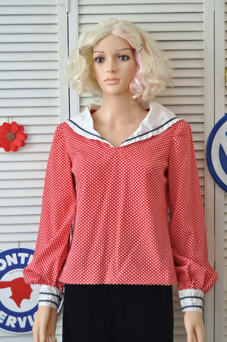Vintage Women/'s Blouse Red /& White Polka DotsSailor Nautical Top ShirtRetro 40s 50s Theater Costume handmade OOAK Small Medium 70s Lucy 36