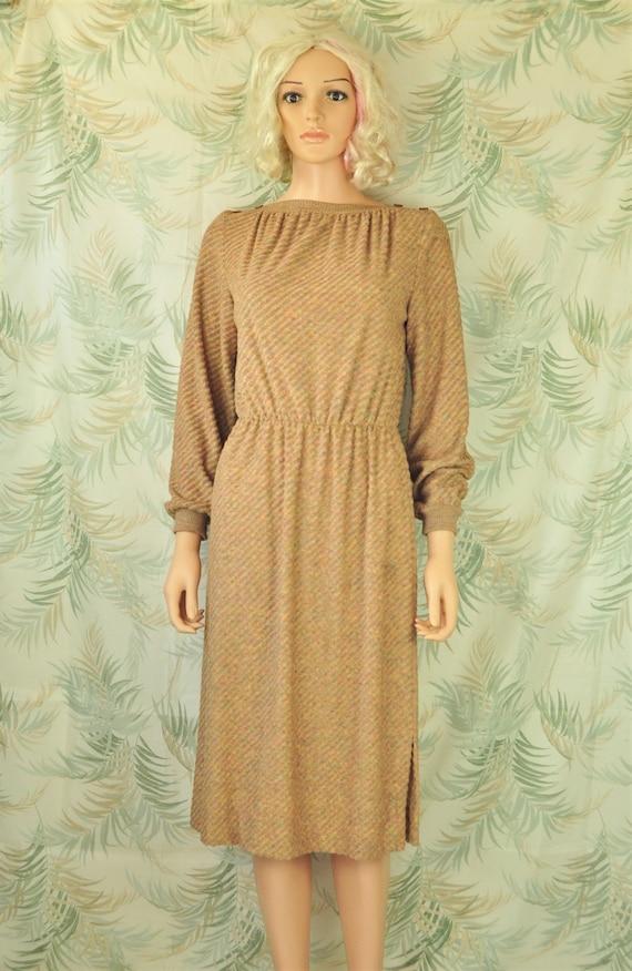 Vintage 70s Womens Terry Dress Beige Brown Autumn color Long sleeve elastic waist Jerell Texas Costume Faux button shoulder