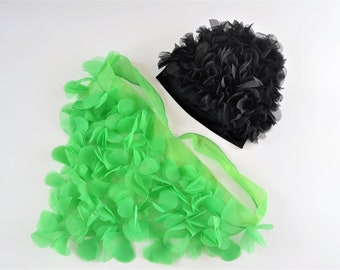 Vintage 60s 70s Womens Night Caps Scarf Petal Hats Doo Rag Curler Cover Destash Set = Two Theatrical Costume Green Black Variety one size