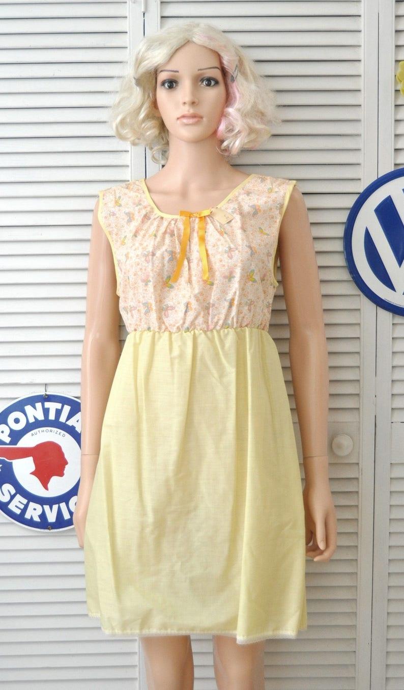 27a21b0a3f60 Vintage 60s Womens Nightgown Lemon Chiffon Yellow & | Etsy