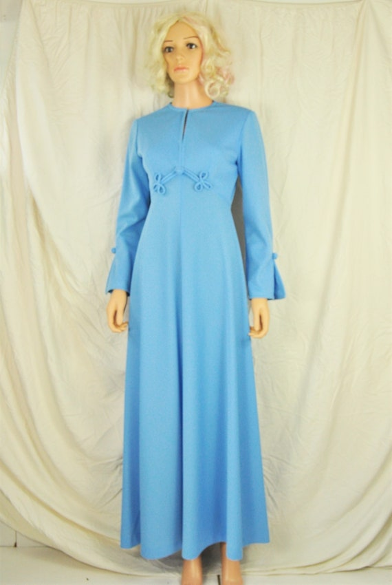 Absolutely Fab Fun Wedding dress or formal~ 1960/'s baby blue creamy lace with green cumber waist and bow~ full length~ XSMALL