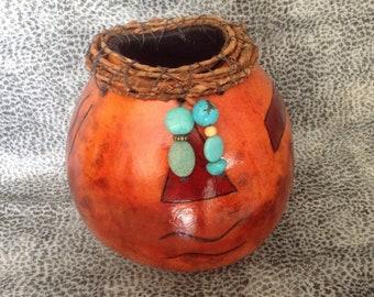 Southwestern Geometric Gourd Vase