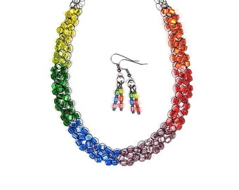 Adjustable Wire Crochet Necklace/Earring Set of Miyuki Japanese Glass Beads