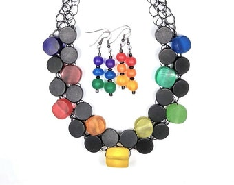 Rainbow Necklace, Multicolor Necklace, Resin, Statement, Wire Crochet, Jewelry Set, Adjustable