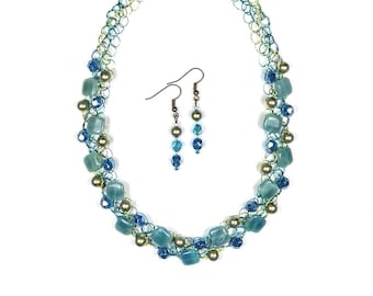 Hemimorphite Necklace, Swarovski Pearls, Fire Polished, Czech Glass, Jewelry Set, Wire Crochet, Matching Earrings, Adjustable