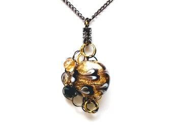 Adjustable Wire Crochet Pendant of Lampwork and Czech Glass