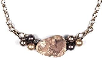 Brown Rhodocrosite Necklace, Swarovski Pearls, Wire Crochet, Adjustable