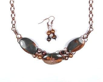 Wonderstone Necklace, Swarovski Pearls, Red Tiger Eye, Wire Crochet, Adjustable, Set, Earrings