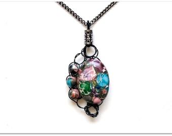 Multicolor Pendant, Impression Jasper, Black, Wire Crochet, Adjustable