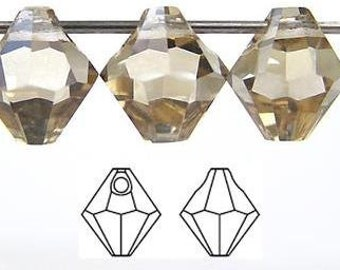 12 Czech Machine Cut Top-Drilled Bicone Pendant Crystals 6mm Crystal Champagne