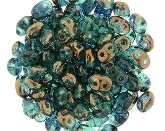 Beadweaving, Emerald Superduo blue teal bronze aqua 2.5x5mm sd-75 RR5072 green copper 2 hole Bronze Luster 12