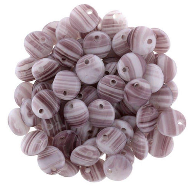 One Hole Czech glass beads purple LB-37 Kumihimo Beadweaving, Opaque WHITEAMETHYST 25-50 , white 25000 6mm Lentil Beads