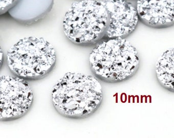 Druzy Resin Embellishment Cabochons Gunmetal 10mm 10 pcs