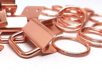 "20 pcs. Rose Gold Plated Key Fobs and Key Rings - 1"" - Beautiful Purse Handbag Hardware - 1 inch - 10 Sets"