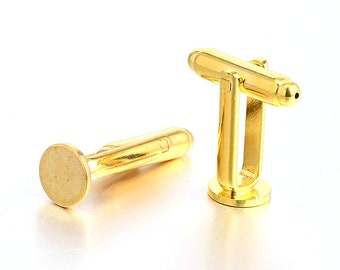 6 pairs CUFFLINK blank findings GOLD plated 10mm pad Pkg12 FIND18