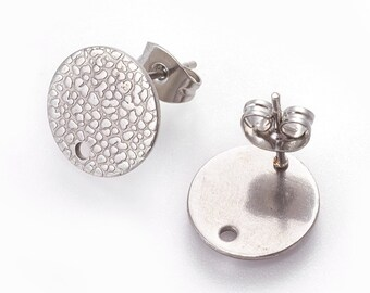 Hole Size: 1.8mm 304 Stainless Steel Silver Earring PostsStudsSettings Style E 8mm Diameter 5 pairs TEXTURED 10 pcs with Loop