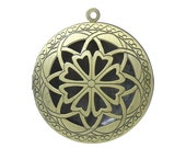 1 piece Antique Bronze Carved Round Perfume Diffuser Pendant Photo Picture Locket Box - 36mm X 33mm - Fits 24mm Image