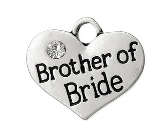 4 Brother of Groom Charms Antique Silver Tone 2 Sided with Rhinestones SC4362