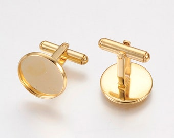 12mm Glue Pad Bezel Setting 5 pairs Lot of 10 Gold Plated Cuff Links