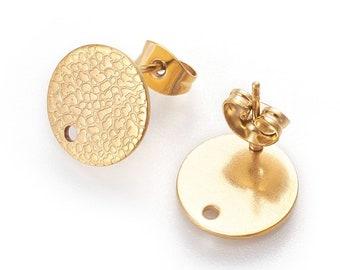 10 pcs. 5 pairs 12mm Diameter Hole Size: 1.8mm 304 Stainless Steel Golden Earring PostsBasesStudsSettings TEXTURED