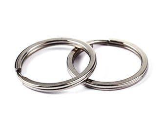 "LOT 10  SPLIT RINGS 1/"" 24MM X 2MM THICK HEAVY DUTY NICKEL METAL KEY CHAIN DIY"