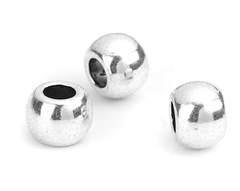10x 304 Stainless Steel Carved Metal Beads Round Antique Silver Spacers 8mm DIA