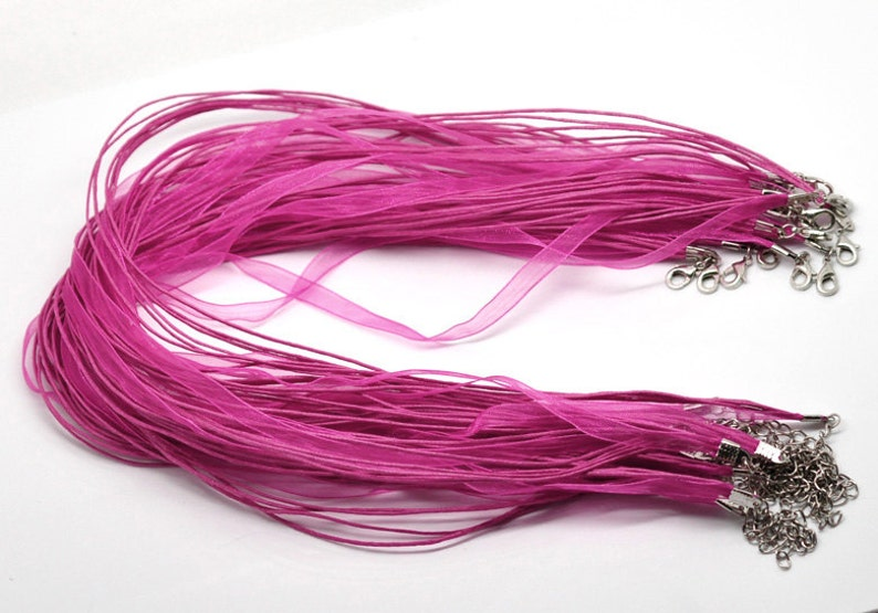 - Claw Clasps and Extender Chains! Hot Pink Fuchsia Organza Ribbon Waxen Cord Necklaces with Lobster Clasp 15 pcs 43 cm 17 inch