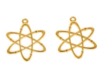 10 pcs. Gold Plated Chemistry Science Atom Charms Pendants - 33mm X 26mm - 1.3 in x 1 in