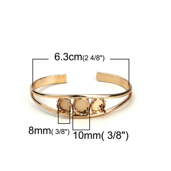 Silver Plated Open Cuff Bangle Adjustable Bezel Cabochon Bracelets - Made of Copper! 1 pc 25mm Glue Pad 1 inch - 1