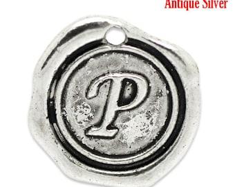 """5pcs. Antique Silver LARGE Letter """"P"""" Alphabet Letter - 18mm x18mm - Wax Design"""