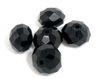 50 pcs Black Crystal Quartz Faceted Rondelle Beads - 12mm