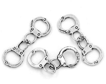 10pcs. Antique Silver Hand Cuffs Charms Pendants - 17x12mm