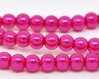 6mm Pink Glass Pearl Imitation Round Beads - 32 inch strand
