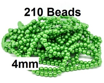 4mm Green Glass Pearl Imitation Round Beads - 32 inch strand