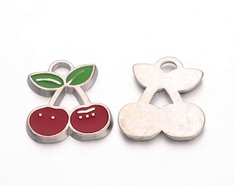 10 pcs. Cherry Fruit Silver Tone Enamel Charms Pendants - 22mm X 17mm