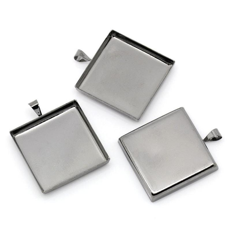 10 pcs 1 inch 25mm Glue Pad Setting - 32mm x 26mm Gunmetal Pendant Square Posts Frame Settings Bezels Cabochons Tags Trays