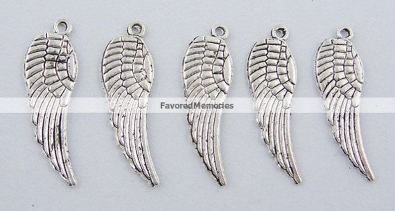 10mm x 30mm 40 pcs LARGE Tibetan Antique Silver Wings Charms