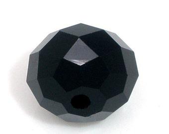 10 or 50 pcs. Black Crystal Quartz Faceted Rondelle Beads - 10mm