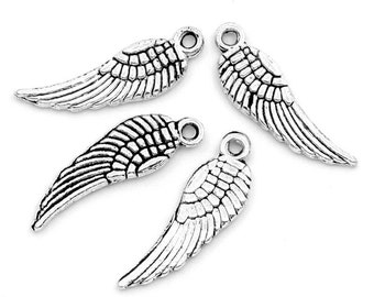 50 pcs. SMALL Tibetan Antique Silver Tone Wings Charms - 17x5mm