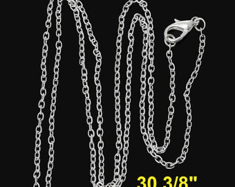"12 pcs. Silver Plated Cable Chain Link Necklaces 30 3/8"" - (3 x 2mm) - Lobster Clasps - Claw Clasps"