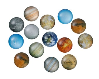 10 pcs Circle Planets Solar System Universe Glass Round Dome Seals Tiles Cabochons - 20mm (0.79 in) - About 3/4 inch