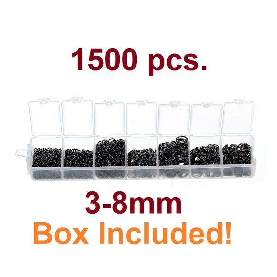 7 Assorted Sizes In Plastic Storage Box Jump Rings Silver Tone 1500PCs Mix