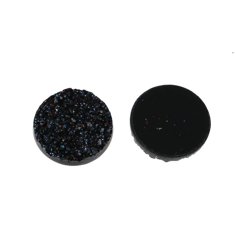 Circle Round 10 pcs Druzy Resin Embellishment Cabochons Sparkly Black 18mm