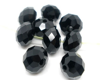 SALE - 70 pcs Black Crystal Quartz Faceted Rondelle Beads - 8mm