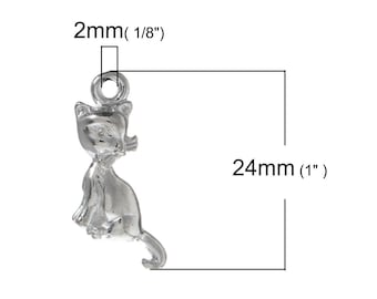 10pcs. Silver Plated Cat Sitting Charms Pendants - 24mm X 11mm