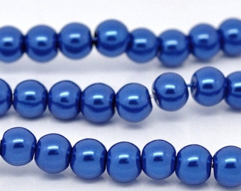 10mm Blue Glass Pearl Imitation Round Beads - 16 inch strand
